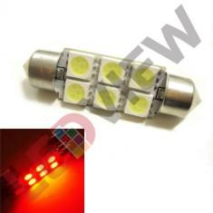 Bec led sofit, C5W, festoon 6 SMD 5050 39 mm Culoare: ROSU