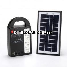 KIT SOLAR COMPLET GD LITE CU 3 BECURI,ACUMULATOR,PANOU SOLAR,LAMPA CU LEDURI.NOU