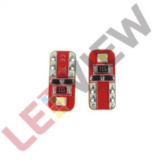Bec pozitie T10 (W5W) cu 2 led SMD 2835 Canbus - Alb