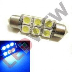 Bec C5W cu 6 led SMD 5050, 42 mm - Albastru, Universal
