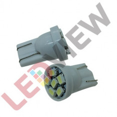Bec T10 (W5W) cu 6 led SMD 3528 Alb xenon, Universal