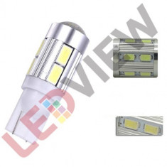 Bec pozitie T10 W5W cu 10 led SMD 5630 Aluminiu - Alb