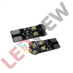 Bec pozitie T10 (W5W) cu 8 led SMD 3528 Canbus - Alb