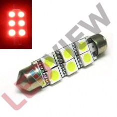 Bec led sofit, C5W, festoon 6 SMD 5050 41 mm, ROSU