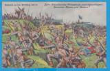 CARTE POSTALA DIN WW1 - DESENE CU SCENE DE LUPTA - REIMS SI VERDUN