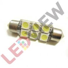 Bec led sofit, C5W, festoon 6 SMD 5050 39 mm - Alb rece