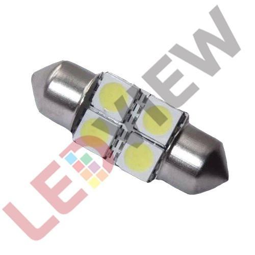 Bec C5W cu 4 led SMD 5050, 32 mm - Alb