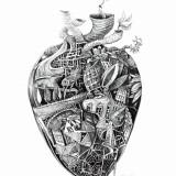 """Down the Aorta"" ILUSTRATII #art #creion #print, Nonfigurativ, Pastel, Abstract"