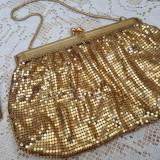 Superba geanta de ocazii mesh metal auriu