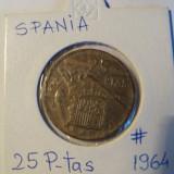 SPANIA  25  PESETAS  1964  FRANCO, Europa