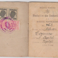 ACT IDENTITATE BULETIN DE INSCRIERE /1946, Romania 1900 - 1950, Documente