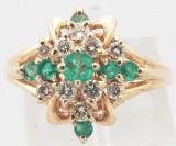 Inel Vintage Aur 14K Pietre Smaragd Si Briliante