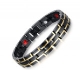 Bratara HB03 HEALTH Men Black Gold 2 Lines
