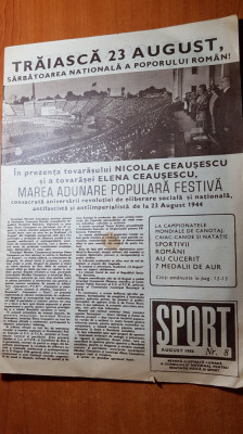revista sport august 1986-foto si articole de la marea defilarede pe stadion foto