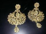 Cercei vintage auriti,Bijuterii vintage tip ANTIC,Cercei senzationali vintage