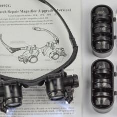Ochelari lupe cu iluminator pentru ceasornicarie - adjustabile, calitate 1