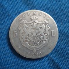 5 LEI 1880 - Moneda Romania, Argint