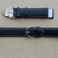 Curea pentru ceas neagra din piele 22mm latime - Curea ceas piele