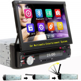 "DVD Player Auto cu Bluetooth, ecran retractabil 7"" HD, Touchscreen USB, SD 1DIN"