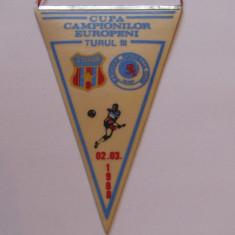 Fanion meci fotbal STEAUA BUCURESTI - GLASGOW RANGERS (CCE 02.03.1988)