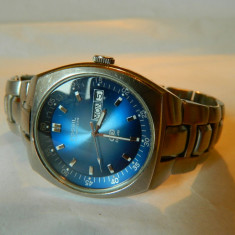 Ceas barbatesc FOSSIL BLUE data dubla, din otel, Casual, Quartz, Inox, Piele, Cronograf