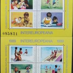 ROMANIA  -JOCURI DE COPII-EUROPA, 1989, 2 M/SH, NEOBLIT. - RO 0511, Organizatii internationale