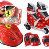 Set Role Cu Accesorii Protectie Incluse Saica Ferrari Marimi Reglabile 28-31, Patine cu rotile