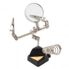 Stativ robust cu lupa si clesti prindere piese - Stativ Microfon