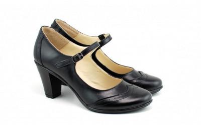 Pantofi dama eleganti din piele naturala negri cu toc de 7 cm cod P117N foto