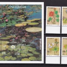 Somalia 2001 flori MI 915-918 + bloc 84 MNH w49 - Timbre straine, Nestampilat