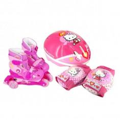 Set Role Cu Accesorii Protectie Incluse Saica Hello Kitty Marimi Reglabile 28-31, Patine cu rotile