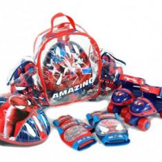 Set Rotile Spiderman Saica Pentru Copii Cu Accesorii Protectie Si Casca Marimi Reglabile 24-29 - Role Saica, Patine cu rotile