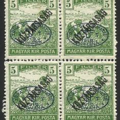EROARE BLOC X 4-UNGARIA/ROMANIA SUPRATIPAR DE OCUPATIE - EM.DEBRETIN 1919-MNH - Timbre Romania, Nestampilat