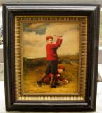 Tablou litografiat inramat Jucatorii de golf 33x38cm, Scene gen