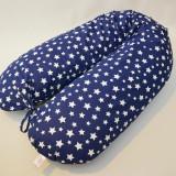 Perna gravide, alaptare si suport bebe 3 in 1, Cornulet cu stele pe bleumarin