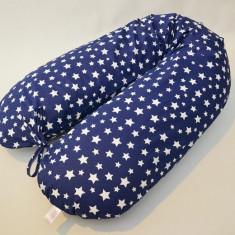 Perna gravide, alaptare si suport bebe 3 in 1, Cornulet cu stele pe bleumarin - Perna alaptat