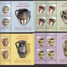 Romania 2007 ceramica oale si cani - 2 minicoli MNH w49 - Timbre Romania, Nestampilat