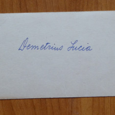 Carte de vizita Lucia Demetrius cu text olograf catre Mia Groza , 8 Martie 1961