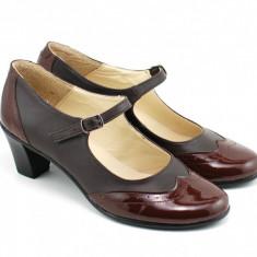 Pantofi dama eleganti din piele naturala cu toc de 5 cm (Maro, Negru si Bej)