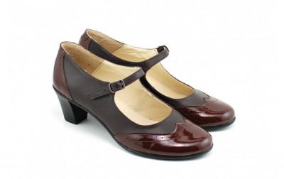 Pantofi dama eleganti din piele naturala cu toc de 5 cm (Maro, Negru si Bej) foto