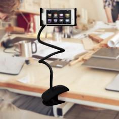 Suport flexibil cu carlig pentru tablete si telefoane-negru