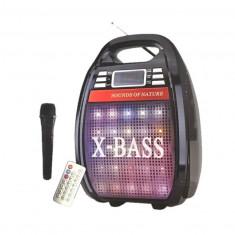 Boxa potabila cu baterii si acumulator, 30w, Radio FM., Bluetooth, Egalizator, Karaoke, USB, lumini - Boxa activa