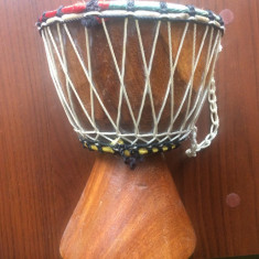 Toba africana artizanala din lemn si piele africa instrument treditional decor - Tobe