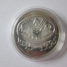 Romania 100 Lei 1995 argint 925 UNC, cea de-a 50-a aniversare FAO - Moneda Romania
