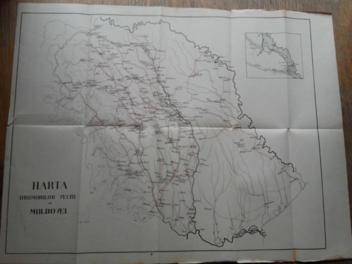 HARTA DRUMURILOR VECHI ALE MOLDOVEI, 1915 foto mare
