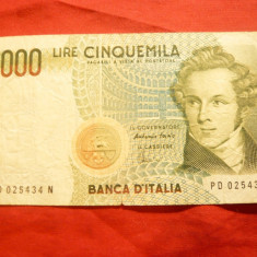 Bancnota 5000 Lire Italia 1985 , cal.buna