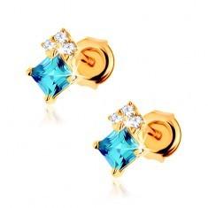Cercei din aur galben 9K, topaz albastru, zirconii transparente