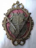 Panoplie veche,miniaturala,belgiana,din bronz,cu blazon si sabii,incrucisate