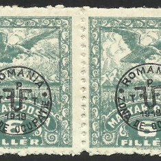VARIETATE UNGARIA/ROMANIA-SUPRATIPAR ZONA DE OCUPATIE -DEBRETIN 1920-PERECHE MNH - Timbre Romania, Nestampilat