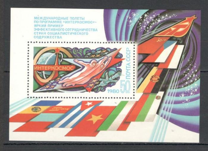 U.R.S.S.1980 Cosmonautica:Programul Intercosmos-Bl.  CU.1027 foto mare
